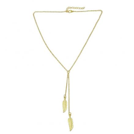 Long Chain Necklace with Feather Shape Pendant