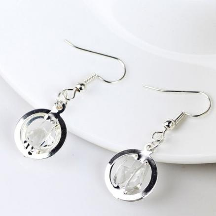 Faux Gem Circle Drop Earrings