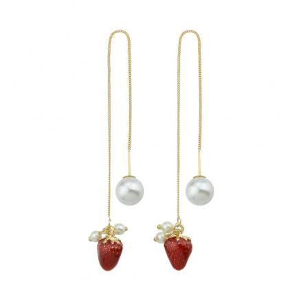 Long Chain With Simulated-pearl Strawberry Shape Drop Earrings