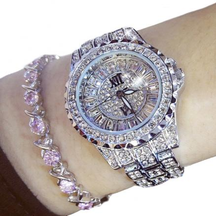 Womens Top Brand Luxury Luminous Pave Fashion Bracelet Watch