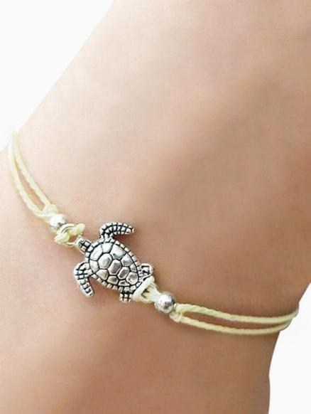Tortoise Adjustable Braid Rope Anklet