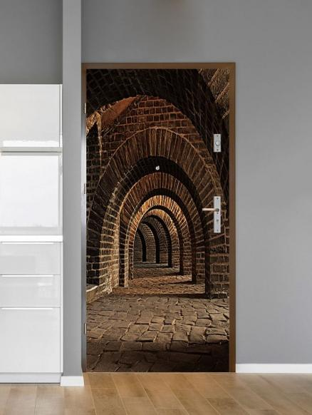 Brick Corridor Arch Print Door Art Stickers
