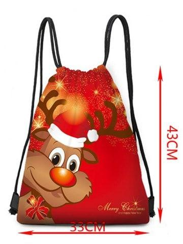 Merry Christmas Deer Printed Drawstring Christmas Gift Bag