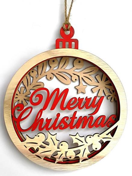 Merry Christmas Wooden Hanging Decoration