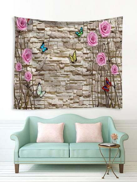 Brick Wall and Flowers Print Tapestry Wall Hanging Art Decoration