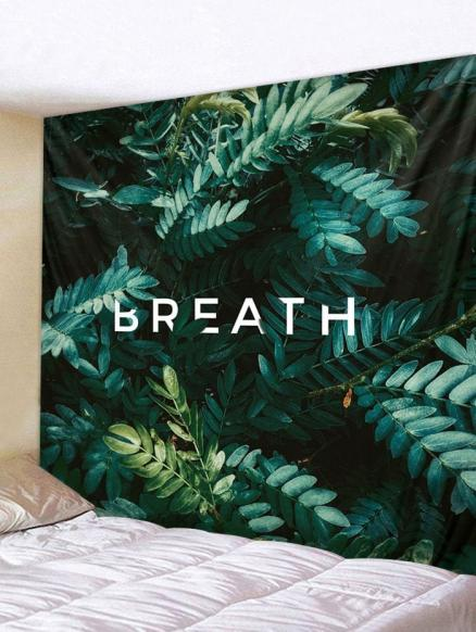 Plant Leaves Letters Print Wall Art Tapestry