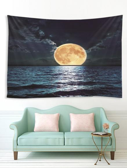Moon Night Ocean Print Tapestry Wall Hanging Art Decoration