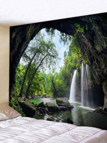 Deep Forest Waterfall Scenery Printed Tapestry Wall Art