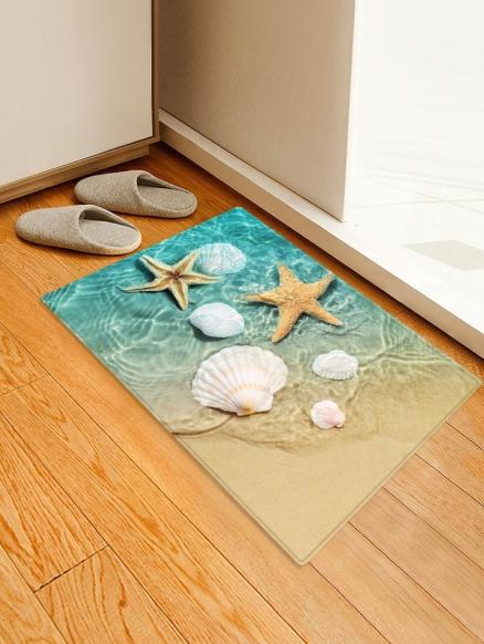 Beach Starfish Conch Pattern Print Floor Mat