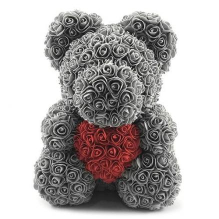Valentines Birthday Gift Rose Color Matching Flower Bear 40cm