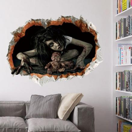 Halloween Zombie 3D Broken Wall Sticker For Living Room