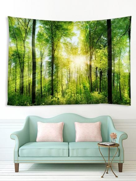 Sunlit Forest Printed Tapestry Wall Hanging Art Decoration