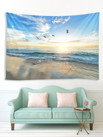 Sunrise Seaside Birds Print Tapestry Wall Hanging Art Decoration