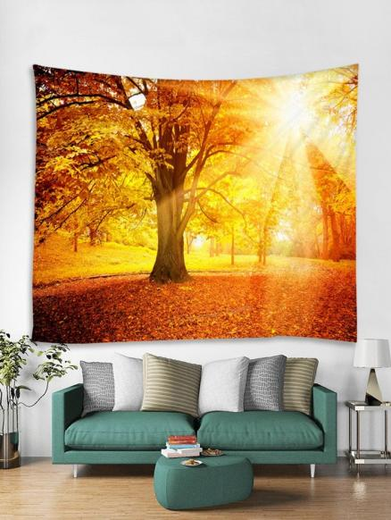 Sunset Fall Tree Print Wall Tapestry