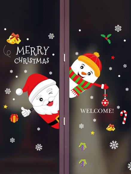 Merry Christmas Snowman Removable Wall Sticker