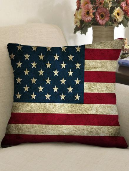 American Flag Print Decorative Linen Pillowcase