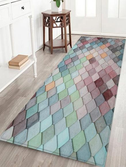 Colorful Geometric Pattern Tile Water Absorption Area Rug