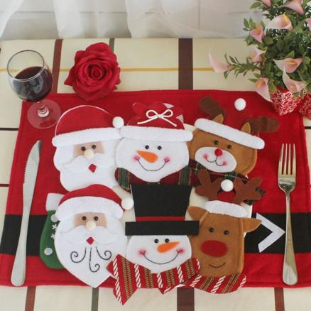 6Pcs Christmas Tableware Decor Knives And Forks Bags