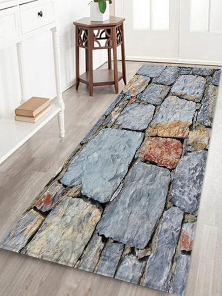 Stone Brick Wall Patterned Water Absorption Area Rug