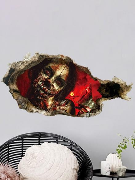 Halloween Zombie Broken Wall Print Removable Wall Art Sticker