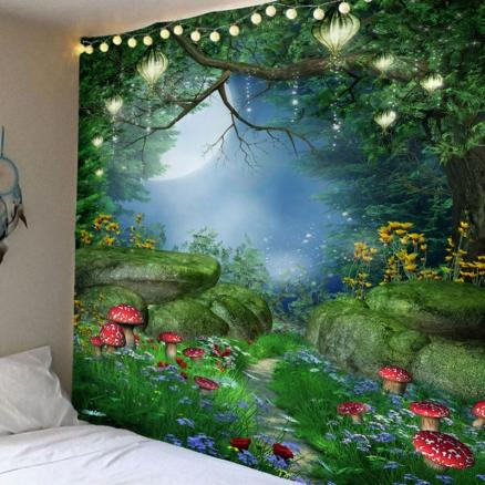Fantastic Mushroom Forest Print Bedroom Decor Hanging Tapestry