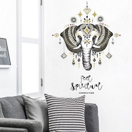 SK7168  Elephant Nordic Style 3D Decorative Wall Sticker for TV Background Bedroom