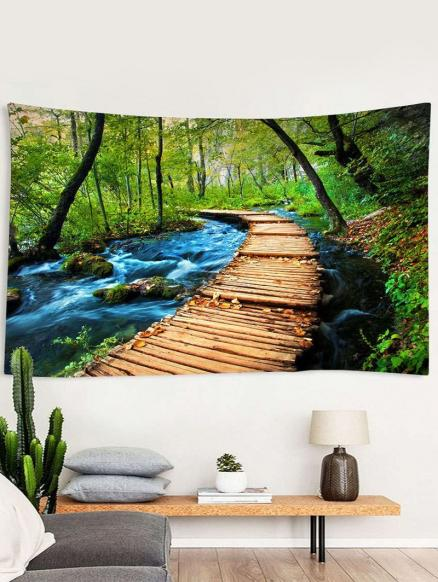 Forest Stream Trail Print Tapestry Wall Hanging Art Decoration