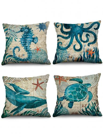 4 Pcs Nautical Animals Print Decorative Pillowcases