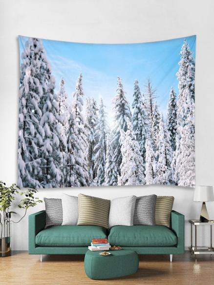 Snow Forest Christmas Theme Tapestry Art Decoration
