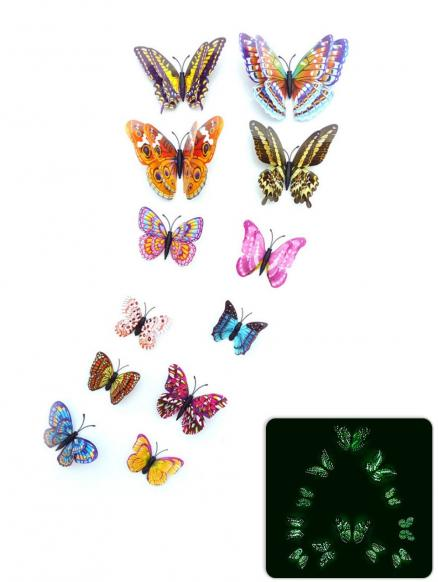 12Pcs/Set Glow in the Dark Butterfly PVC Wall Sticker