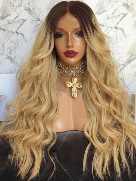 Center Part Gradient Long Body Wave Synthetic Wig
