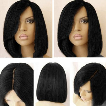 Short Side Part Dark Root Colormix Straight Bob Synthetic Wig