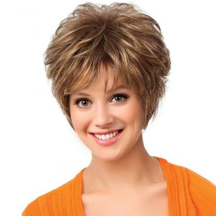 Short Side Bang Shaggy Layered Natural Straight Synthetic Wig