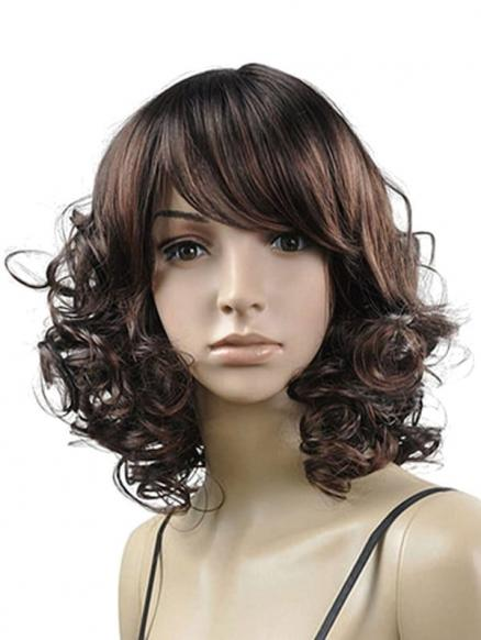 Side Bang Curly Medium Synthetic Fluffy Wig