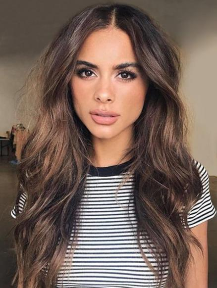 Center Part Long Body Wavy Synthetic Wig