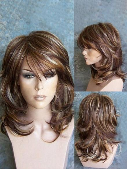 Medium Inclined Bang Highlighted Layered Slightly Curled Synthetic Wig