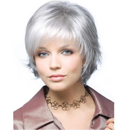 Stylish Intellectuali Lady Short Straight Hair High Temperature Synthetic Wig