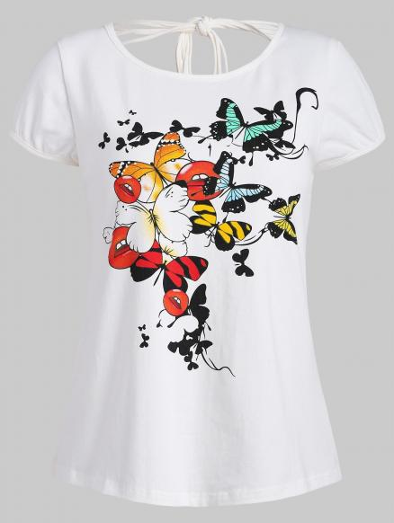 Ripped Butterfly Print Graphic Tee