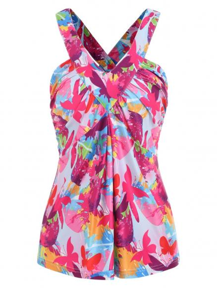 Butterfly Print Back Cut Out Tank Top