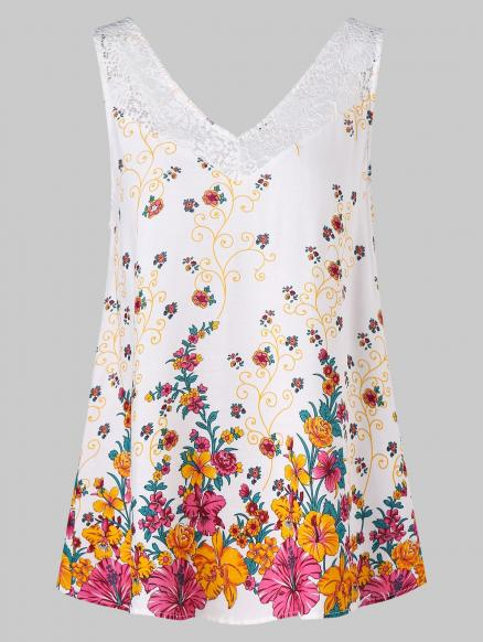 Lace Insert Floral Tank Top