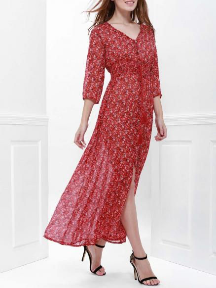 High Split Printed Maxi Dress with Sleeves