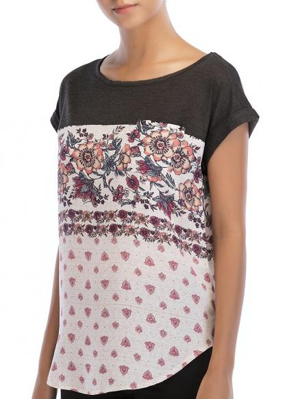 Round Neck Flowers Print Basic T-shirt