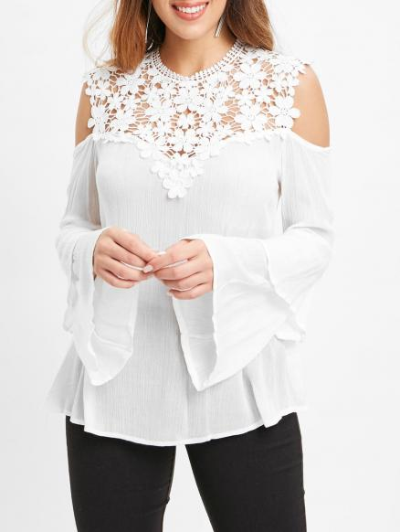 Lace Insert Cold Shoulder Bell Sleeve Blouse