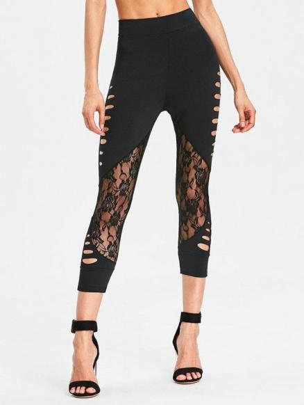 Cropped Lace Panel Cut Out Pants