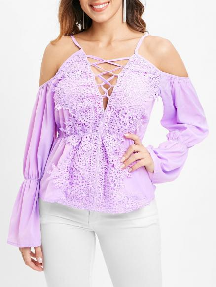 Cold Shoulder Lace Panel Full Sleeve Blouse