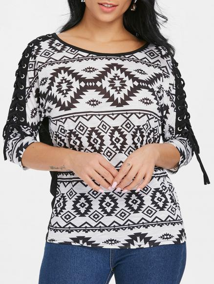 Criss Cross Sleeve Geometric T-shirt