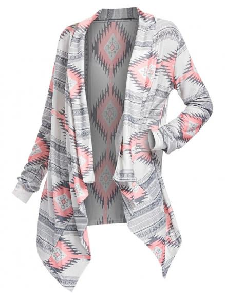 Geometric Printed Long Sleeve Asymmetric Cardigan