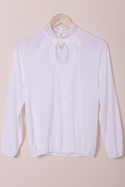 Stylish Stand-Up Collar Long Sleeve Hollow Out Crochet Blouse For Women