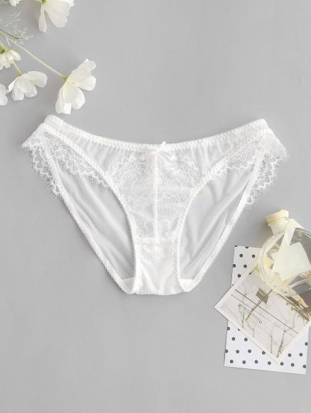 See Through Lace Panel Mesh Briefs