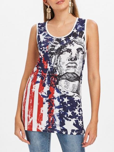 the Statue of Liberty American Flag Tank Top